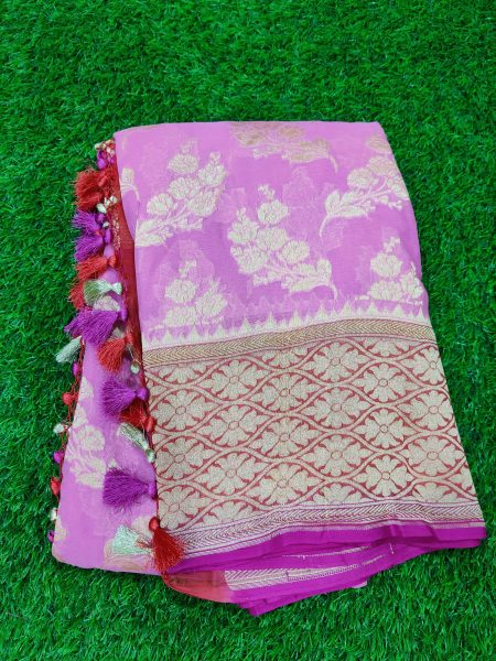 Pure Khaddi Georgette Sarees With Blouse