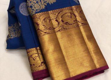 Blue Color Kanchipuram Silk Saree With Blouse (1)
