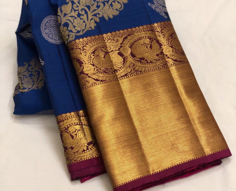 Blue Color Kanchipuram Silk Saree With Blouse (1)