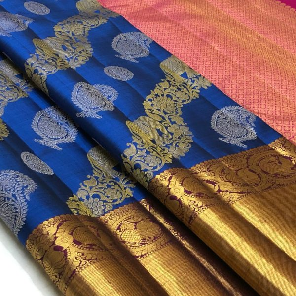 Blue Color Kanchipuram Silk Saree With Blouse (2)