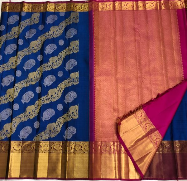 Blue Color Kanchipuram Silk Saree With Blouse (3)