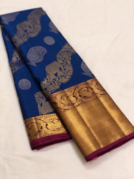 Blue Color Kanchipuram Silk Saree With Blouse (4)