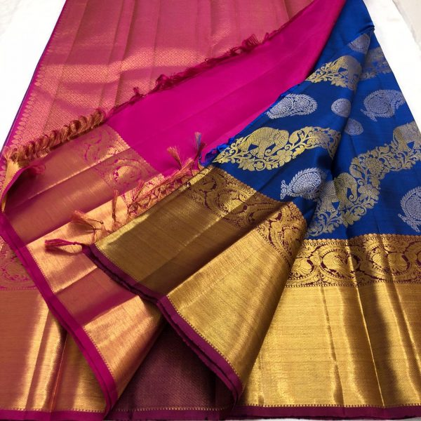 Blue Color Kanchipuram Silk Saree With Blouse (5)
