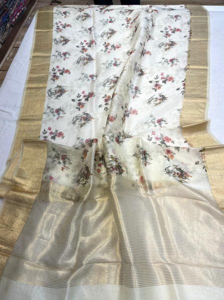 Pure Kora Floral Sarees (2)