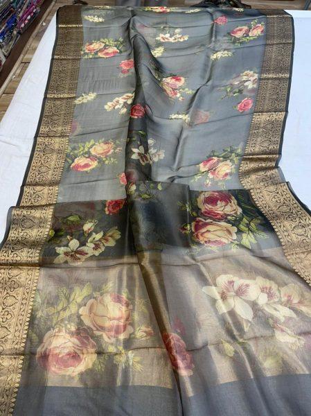 Pure Kora Floral Sarees (3)