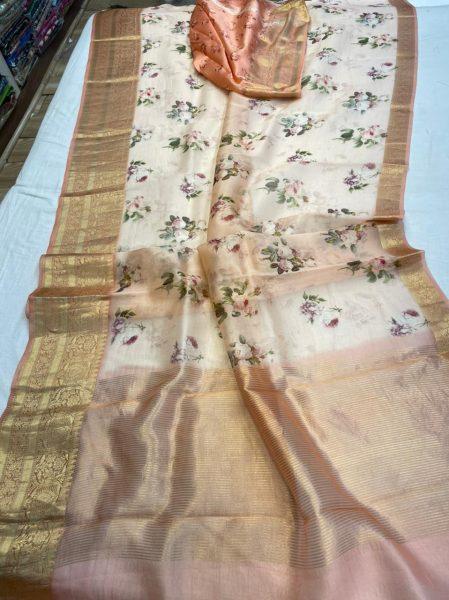 Pure Kora Floral Sarees (4)