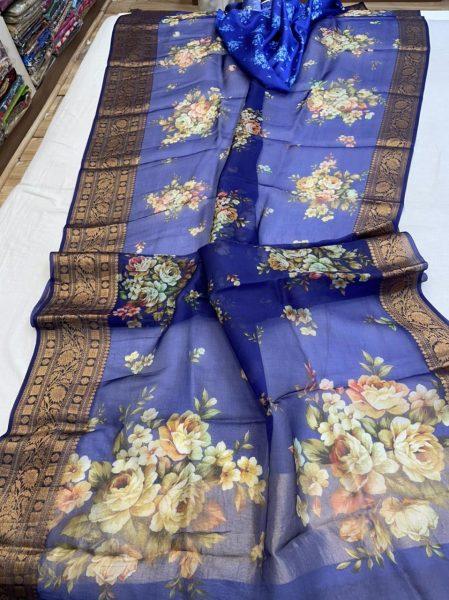 Pure Kora Floral Sarees (5)