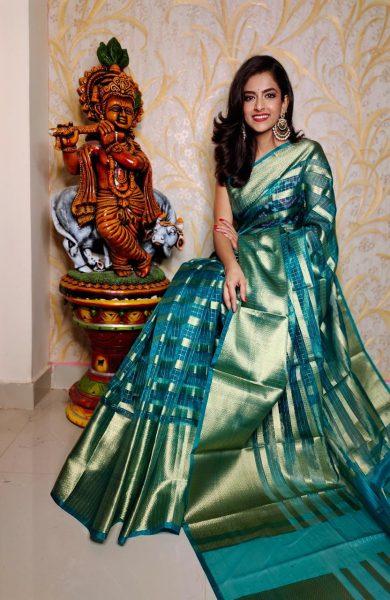 Banaras Tissue Organza Sarees With Blouse (10)