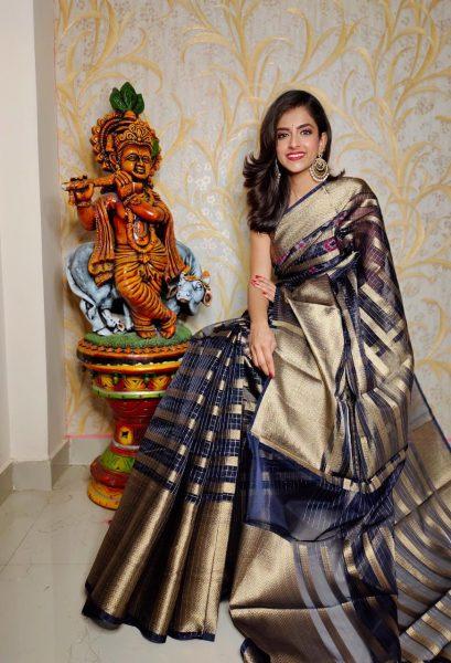 Banaras Tissue Organza Sarees With Blouse (11)