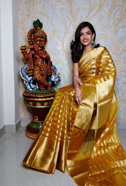 Banaras Tissue Organza Sarees With Blouse (2)