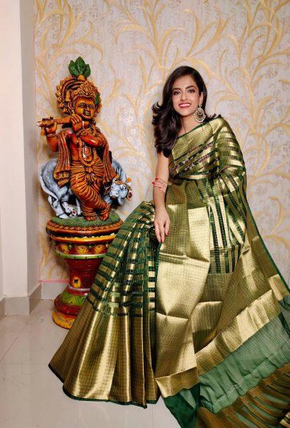 Banaras Tissue Organza Sarees With Blouse (5)