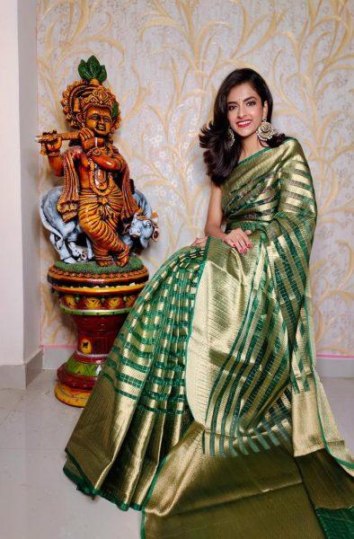 Banaras Tissue Organza Sarees With Blouse (6)