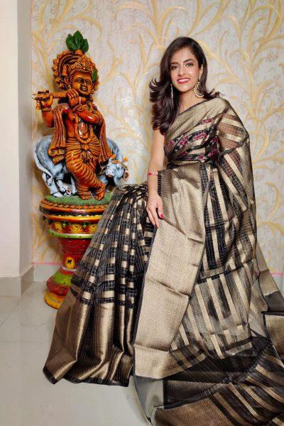 Banaras Tissue Organza Sarees With Blouse (9)