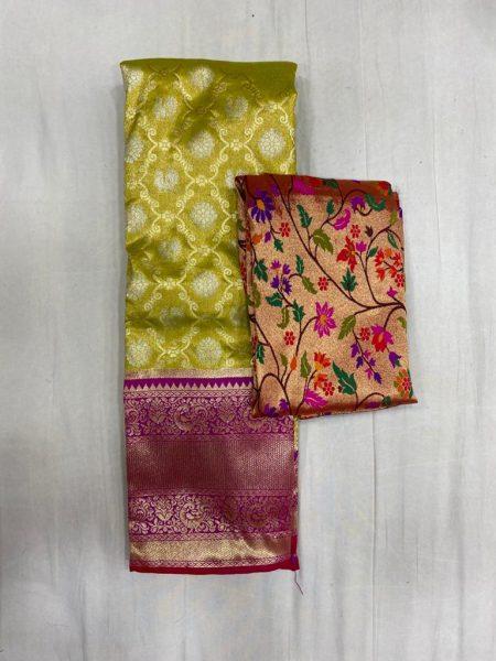 Free Size Lehangas With Paithani Blouse (1)