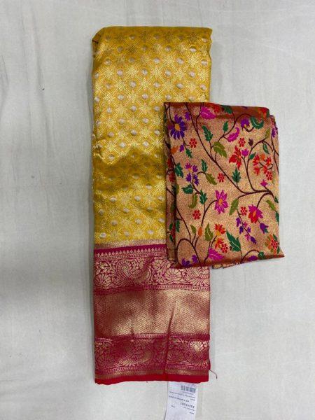 Free Size Lehangas With Paithani Blouse (5)