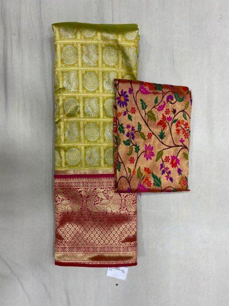 Free Size Lehangas With Paithani Blouse (8)