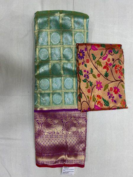 Free Size Lehangas With Paithani Blouse (9)