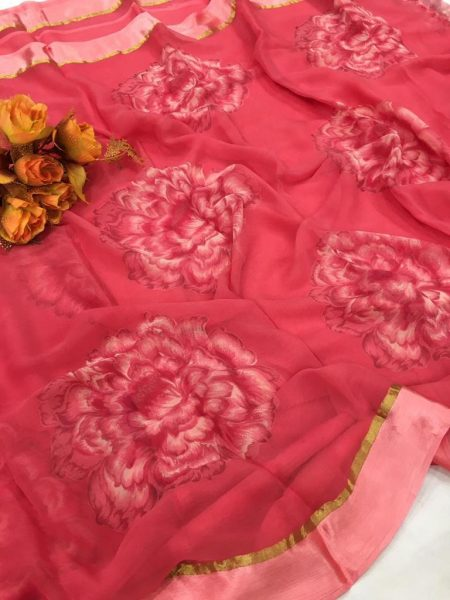 Pure Chiffon Floral Sarees With Blouse (1)