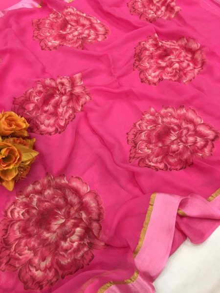 Pure Chiffon Floral Sarees With Blouse (10)