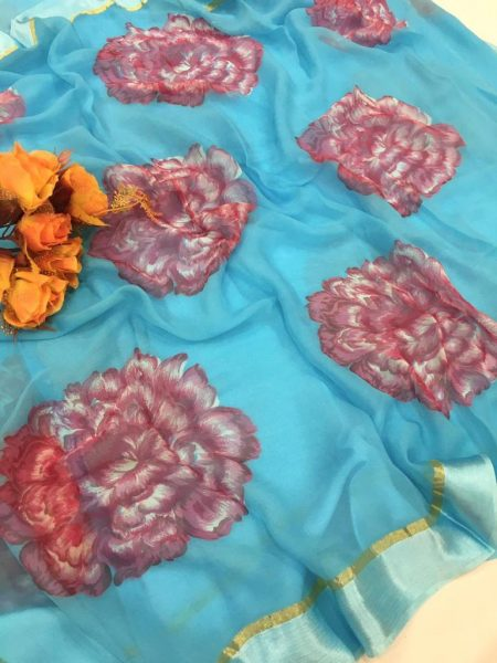 Pure Chiffon Floral Sarees With Blouse (13)