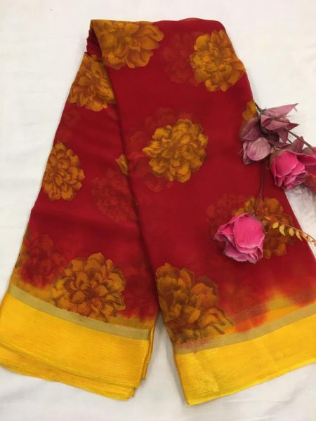 Pure Chiffon Floral Sarees With Blouse (14)