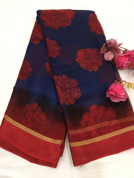 Pure Chiffon Floral Sarees With Blouse (2)