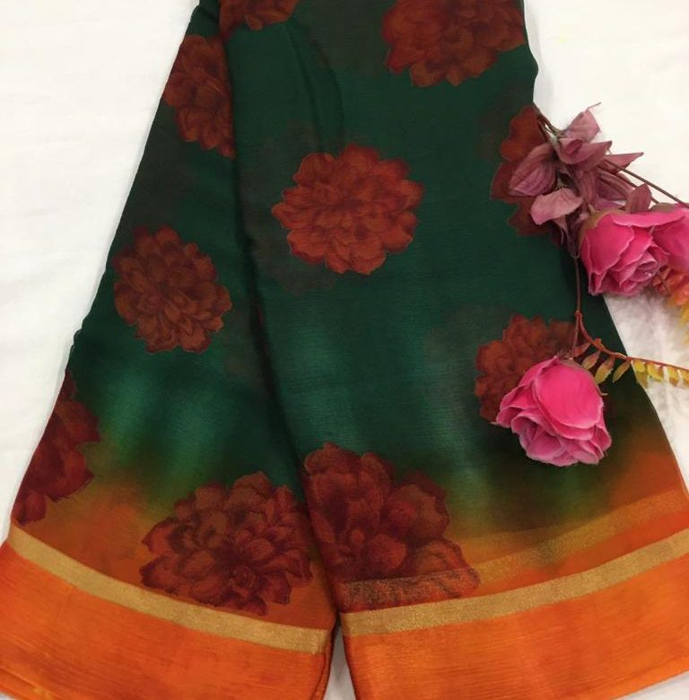 Pure Chiffon Floral Sarees With Blouse (3)