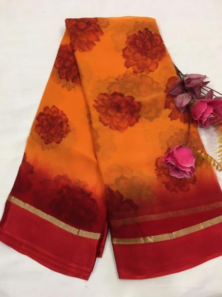 Pure Chiffon Floral Sarees With Blouse (4)