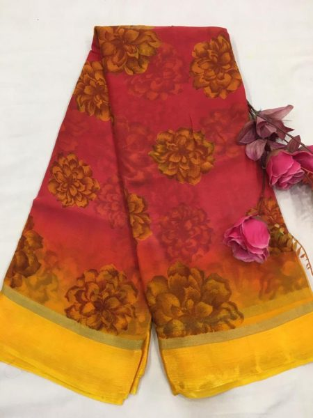 Pure Chiffon Floral Sarees With Blouse (6)