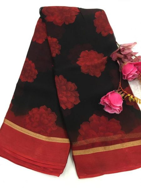 Pure Chiffon Floral Sarees With Blouse (7)