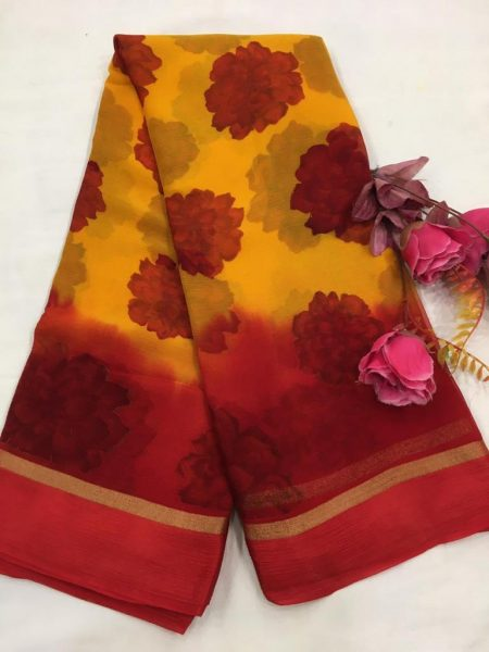 Pure Chiffon Floral Sarees With Blouse (8)