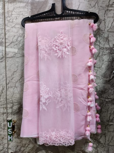Pure Chinnon Sequence Sarees With Blouse (1)