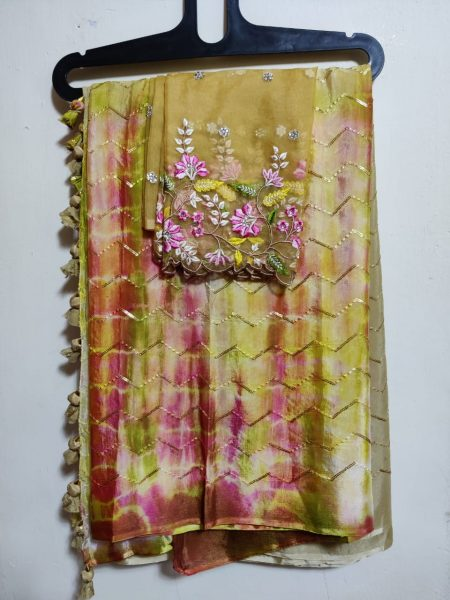 Pure Chinnon Sequence Sarees With Blouse (10)