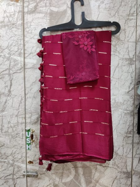 Pure Chinnon Sequence Sarees With Blouse (12)