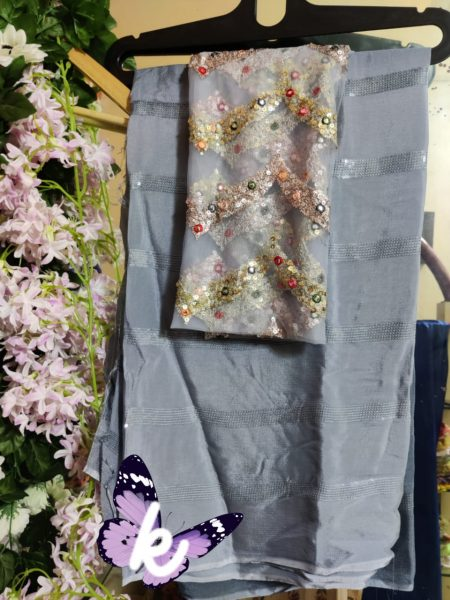 Pure Chinnon Sequence Sarees With Blouse (14)