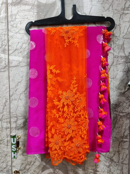 Pure Chinnon Sequence Sarees With Blouse (16)