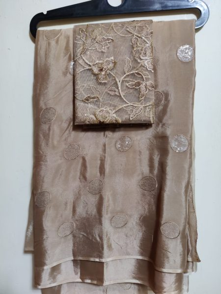Pure Chinnon Sequence Sarees With Blouse (17)