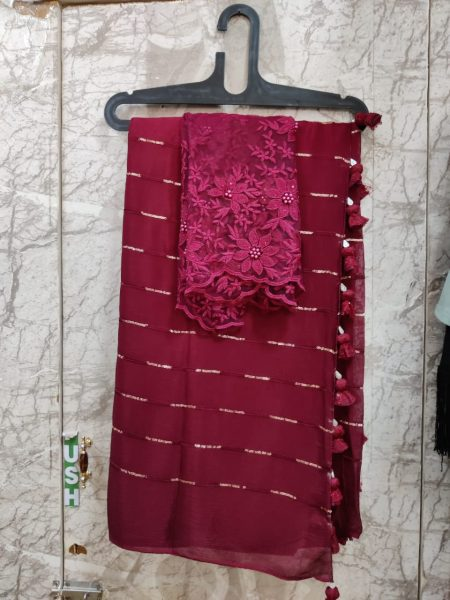 Pure Chinnon Sequence Sarees With Blouse (2)