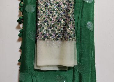 Pure Chinnon Sequence Sarees With Blouse (22)