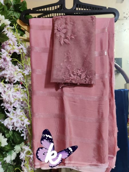 Pure Chinnon Sequence Sarees With Blouse (23)