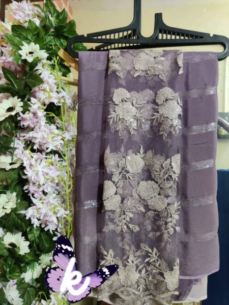 Pure Chinnon Sequence Sarees With Blouse (25)