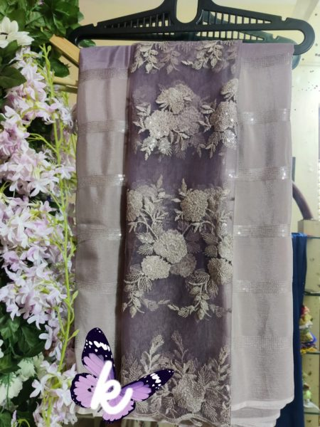 Pure Chinnon Sequence Sarees With Blouse (27)