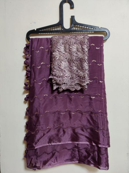 Pure Chinnon Sequence Sarees With Blouse (28)