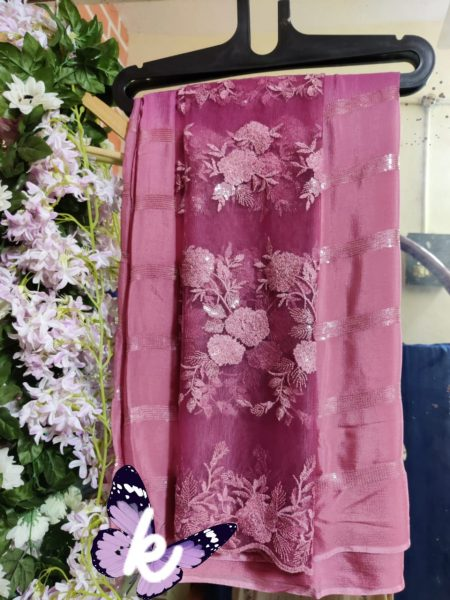 Pure Chinnon Sequence Sarees With Blouse (29)