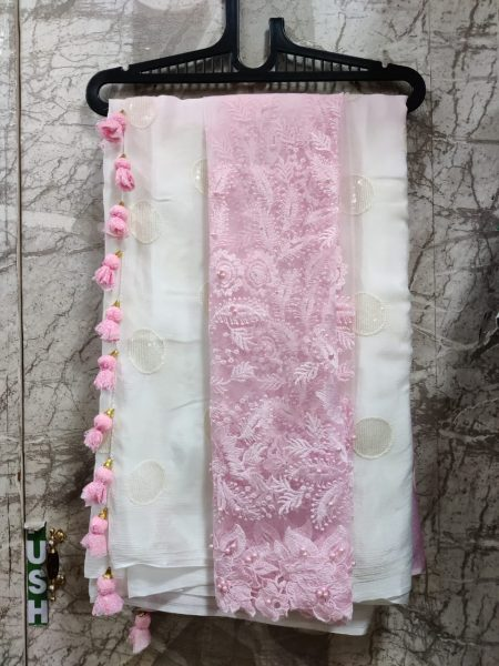 Pure Chinnon Sequence Sarees With Blouse (3)