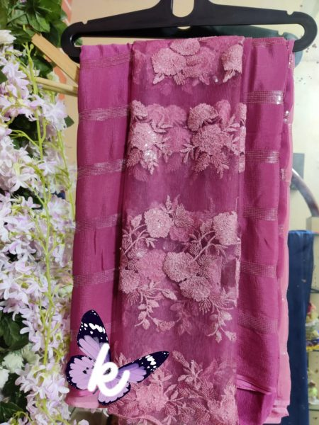 Pure Chinnon Sequence Sarees With Blouse (30)