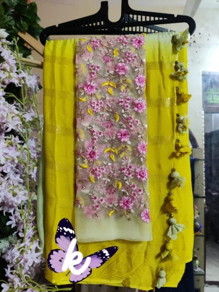 Pure Chinnon Sequence Sarees With Blouse (31)