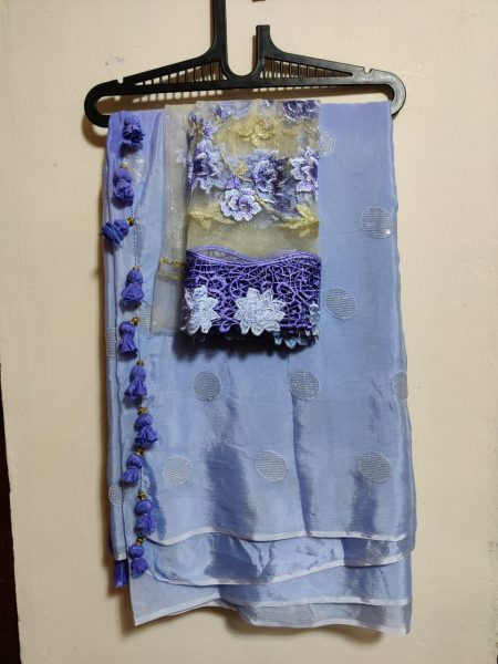 Pure Chinnon Sequence Sarees With Blouse (33)