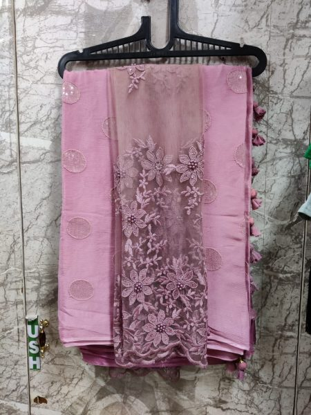Pure Chinnon Sequence Sarees With Blouse (5)