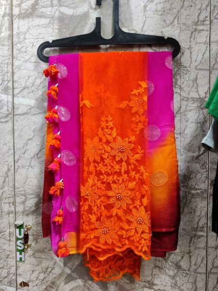 Pure Chinnon Sequence Sarees With Blouse (6)